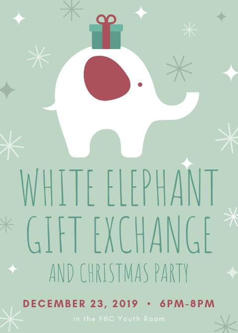 White Elephant with Gift Christmas Flyer